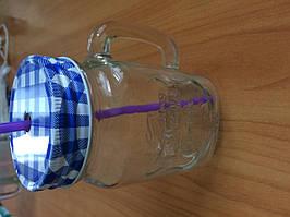 Чашка стеклянная с крышкой и трубочкой 450мл