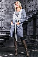 Синий женский кардиган, трёхнитка, размер 42-52