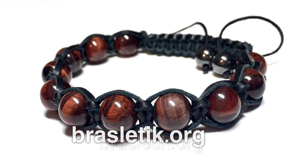 Шкіряний браслет з натурального каменю Бичачий очей shamballa