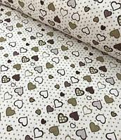 """Пеленка фланелевая для новорожденного """"Сердечко бежево-коричневое"""""""