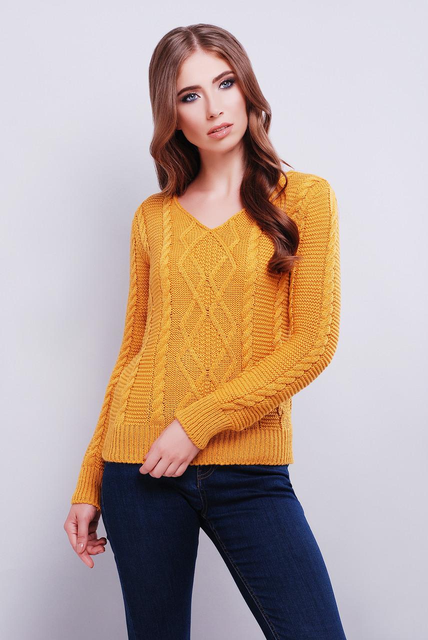 женский вязаный свитер с V образным вырезом горловины горчичного