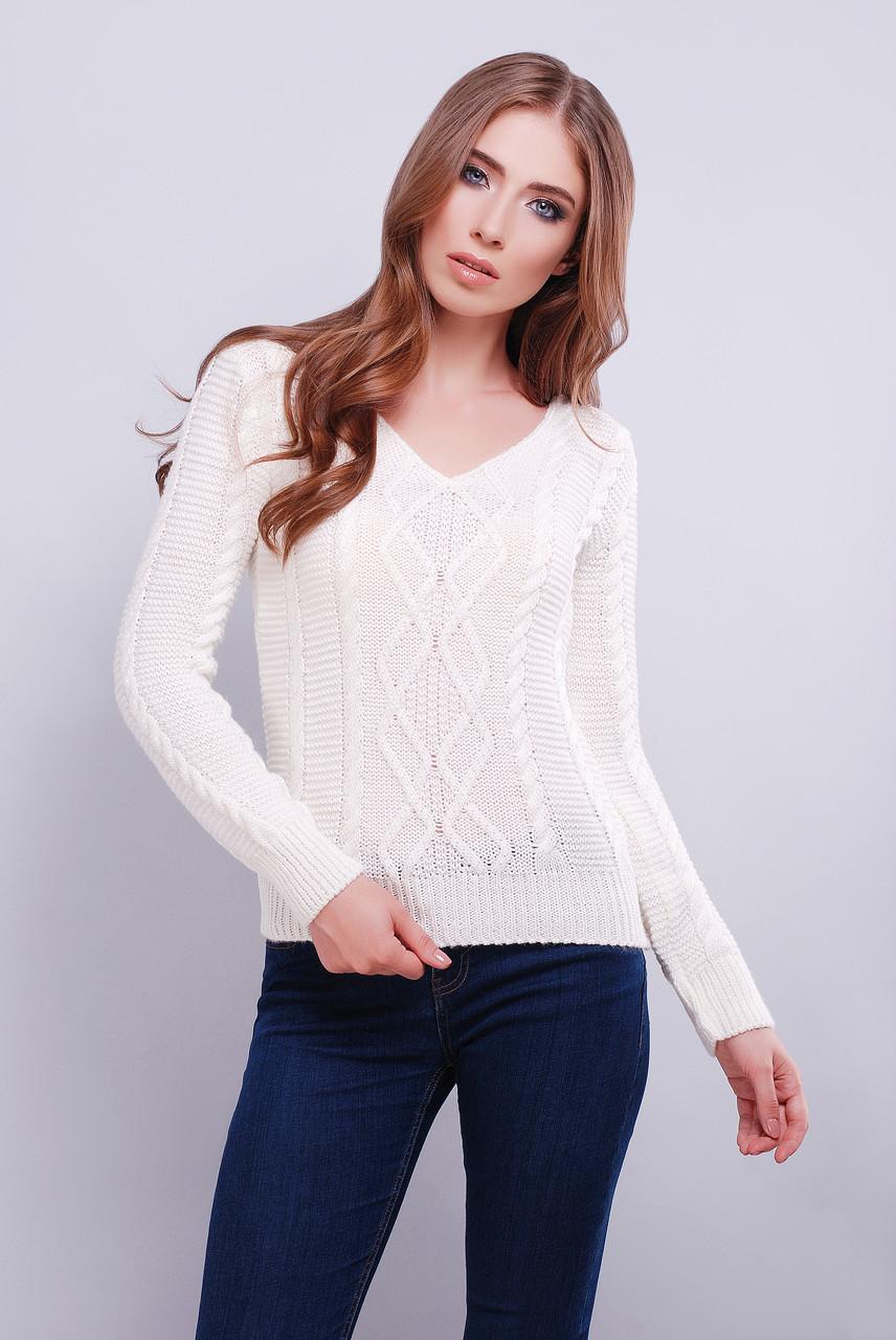 женский вязаный свитер с V образным вырезом горловины белого цвета