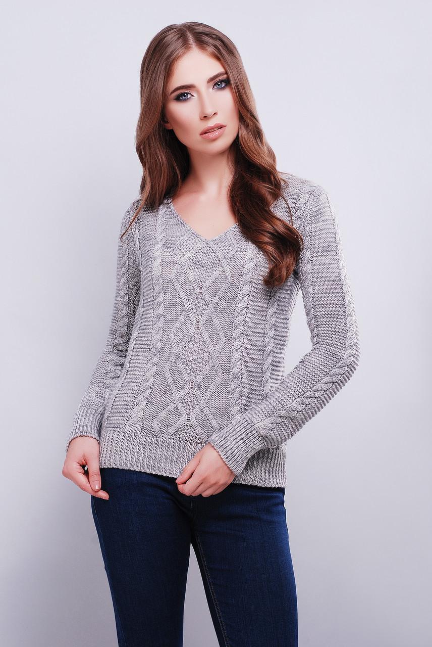 женский вязаный свитер с V образным вырезом горловины темно серого
