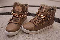 Женские ботинки хайтопы хаки мех золото европа 36-39