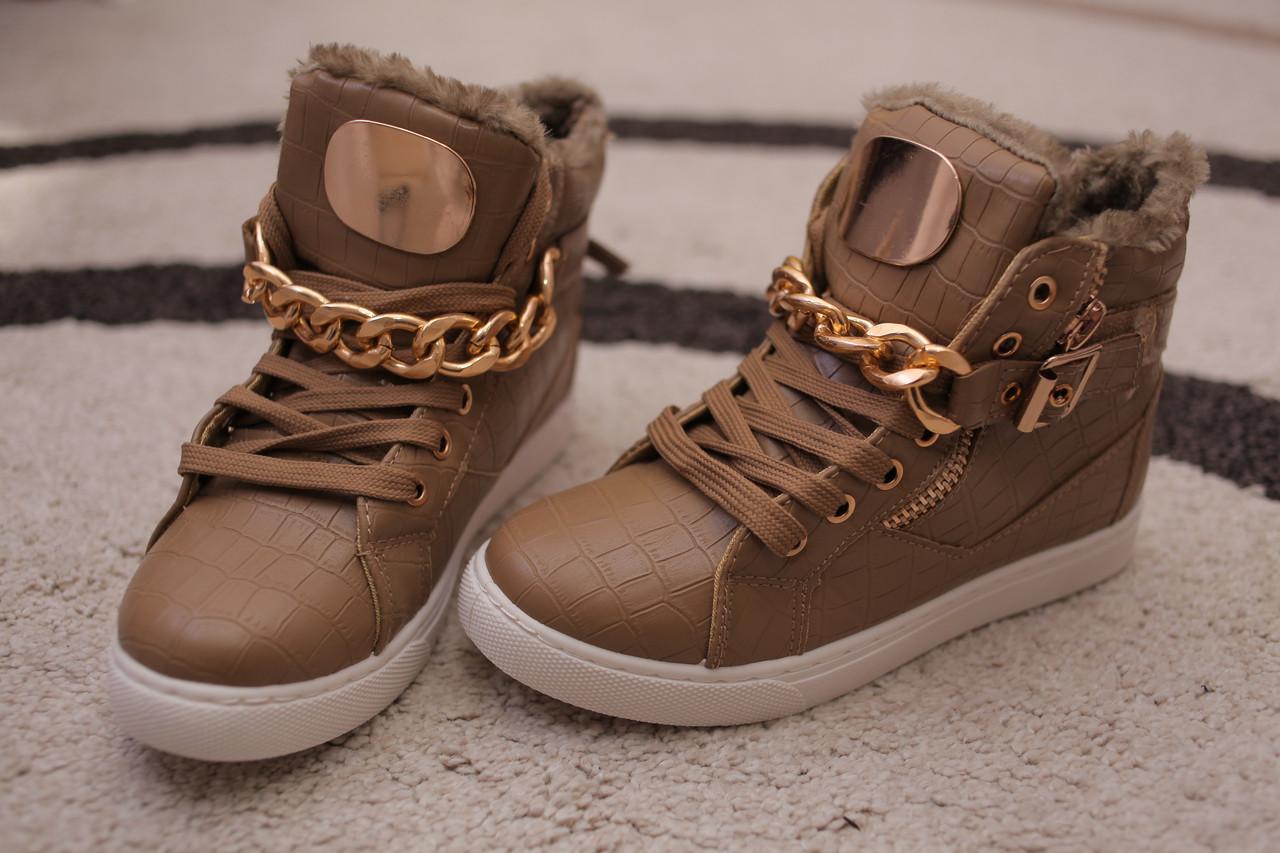 Женские ботинки хайтопы хаки мех золото европа 36-41 -  YD Shop в Львове