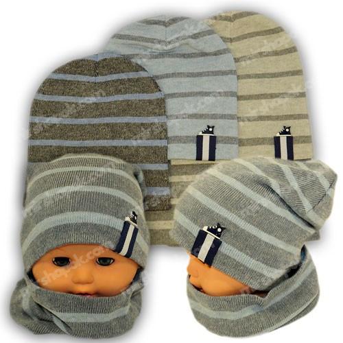 Вязаная шапка с хомутом для мальчика, KY3B