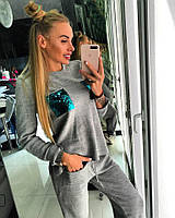 Женский спортивный костюм с паетками у-701554