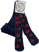 Махровые колготы для девочки с кавунами