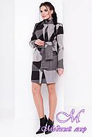 Шерстяное женское пальто весна/осень (р. S, M, L) арт. Луара стойка шерсть принт 6990