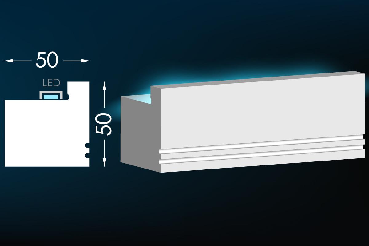 Гипсовый карниз для скрытого освещения Тс-24