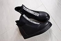 Сникерсы на танкетке Mosc@, цвет-черный, материал-комбинированный -экокожа+текстиль