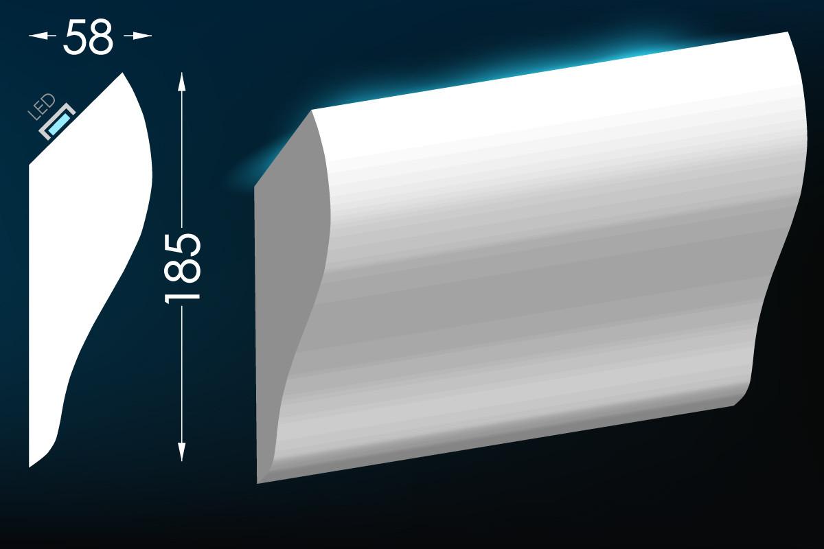Потолочный молдинг с подсветкой, карниз для скрытого освещения Тс-27