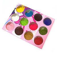 Бархат для ногтей (кашемир) набор 12 цветов