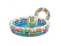"""Детский надувной бассейн Intex"""" Тропические рыбки"""" 59469 с надувным кругом и мячом"""