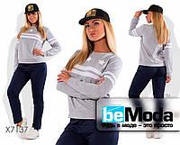 Молодежный женский спортивный костюм больших размеров из свитшота и брюк серый