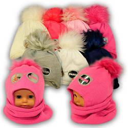 Детский комплект - шапка и шарф (хомут) для девочки, p. 48-50, Ambra (Польша), утеплитель Iso Soft, N49