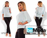 Нарядный женский костюм больших размеров из кофты и брюк серебристый