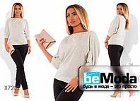 Нарядный женский костюм больших размеров из кофты и брюк белый
