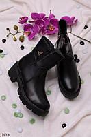 Ботинки черные на тракторной подошве демисезонные эко-кожа