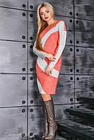 Оригинальное женское прямое платье из трикотажа, коралловый/серый, размер 44-50