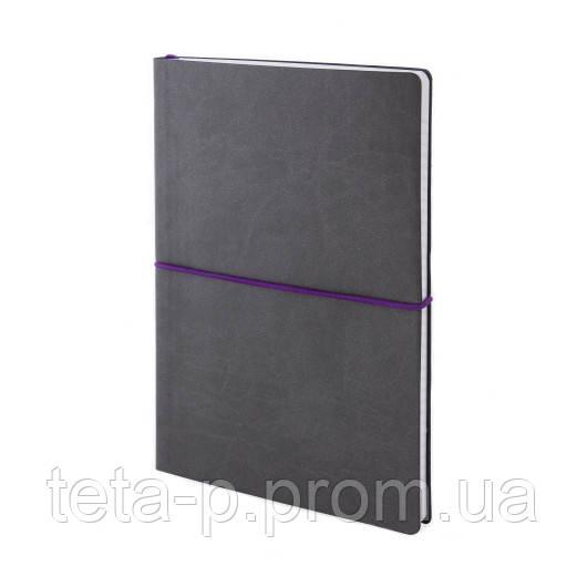 Записная книжка ENEY Enote FX, серый+фиолетовый, белый блок, 192 с., клетка, PRINT цвет N/V, фиолетовая резинк