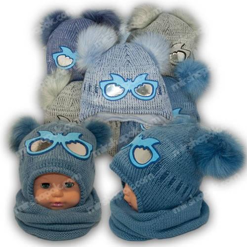 Детский комплект - шапка и шарф (хомут) для мальчика, p. 48-50, Ambra (Польша), утеплитель Iso Soft, R19