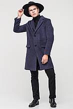 Стильное мужское пальто синее шерсть