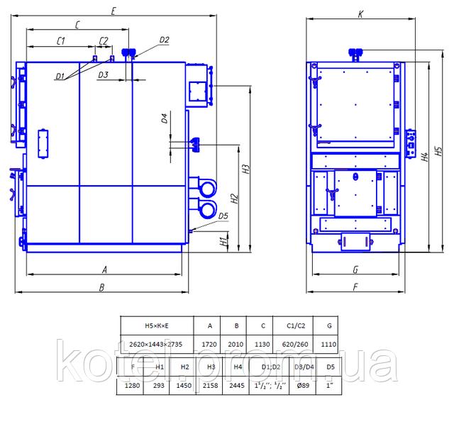 Чертеж и схема твердотопливного котла Колви 400 А 6 бар