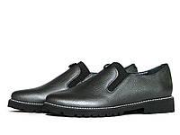 Кожаные туфли серебристо-серые