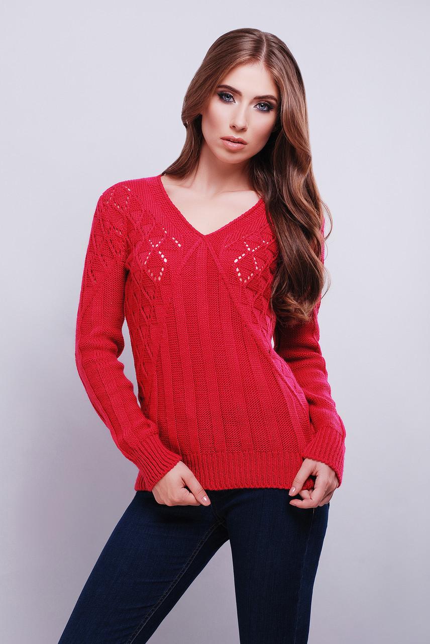 женский вязаный свитер с V образным вырезом горловины с узором по
