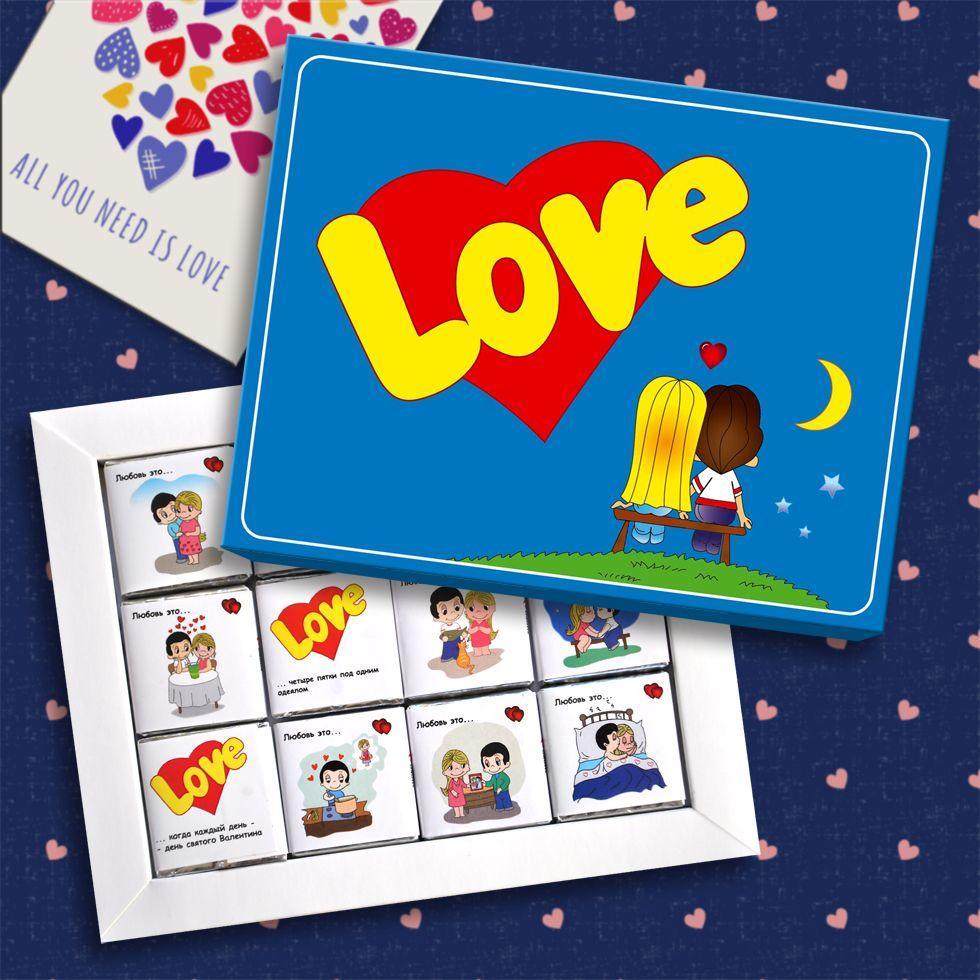Шоколадный подарочный набор Shokosmile Love is 60г / Шоколадний подарунковий набір Shokosmile Лов із, лов из