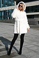 Шуба женская норковая средняя Норка СР c утеплителем №2, белая шуба из искусственной норки