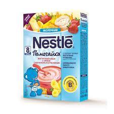 Йогуртная молочная каша Nestle Помогайка 3 злака с бананом и клубникой, 200 г
