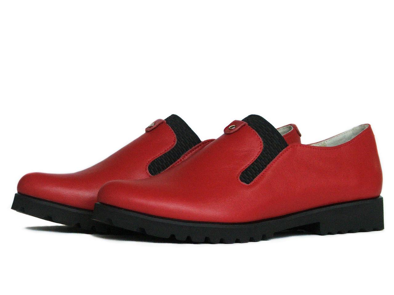 Женские кожаные красные туфли