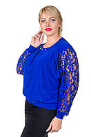 Блуза с гипюром размер плюс Беатрис электрик (50-64)