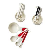 """IKEA """"СТЭМ"""" Мерные емкости,4 штуки, красный, белый/черный"""