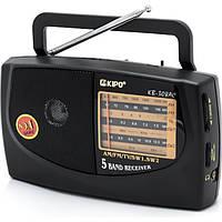 Радиоприемник Kipo KB-308 AC, компактные размеры, автономная работа, пять волн, радио
