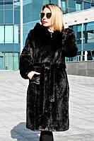 Шуба женская искусственная длинная Норка ДЛ с утеплителем №1, норковая шуба темно-коричневая