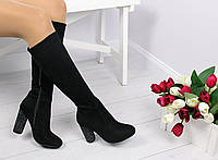 Женские сапоги чёрные на каблуке  с камушками