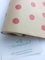 Бумага крафт, упаковочная бумага в красный горох 70см*10м