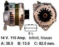 Генератор NISSAN Maxima 2.0/3.0 Murano 3.5 INFINITI 3.0