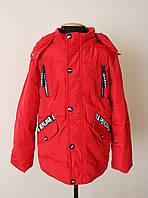 Детская демисезонная куртка унисекс красного цвета