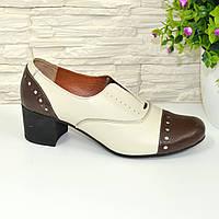 Женские кожаные закрытые туфли на каблуке, бежево-коричневые., фото 1