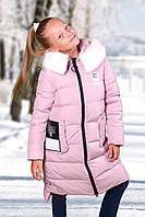 Пальто для девочки пудра, фото 1