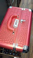 Чемодан металлический раскладной, маникюрная сумка для мастера, красный