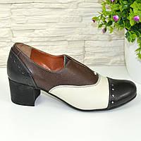 Женские кожаные закрытые туфли на каблуке., фото 1