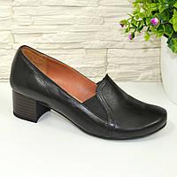 Женские кожаные туфли на устойчивом каблуке, 37 размер.