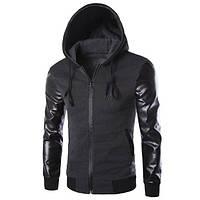 Мужская  толстовка (куртка) с капюшоном с рукавами кожа  S,M,L