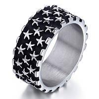 Кольцо мужское со звёздами, сталь 316L