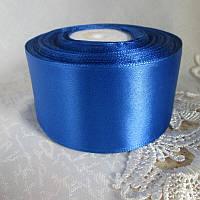 Стрічка атласна 5 см, синій